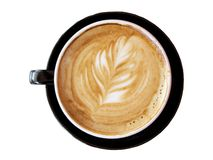 Flat white Coffee with Leaf design Royalty Free Stock Photography