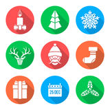 Flat white design christmas icons set. Vector various christmas new year flat style white icons set with shadow Royalty Free Stock Photos