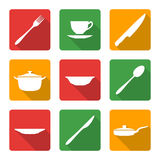 Flat white dinnerwarwe icons. Vector various white silhouette dinnerwarwe icons with shadow Royalty Free Stock Images