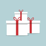 Flat White Gift Box Present with Red Bow. Vector Stock Photo