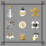 Flat white and golden Christmas icons set with black border Royalty Free Stock Photography