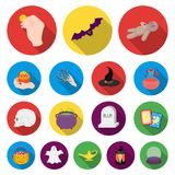 Flat and white magic flat icons in set collection for design. Attributes and sorceress accessories vector symbol stock. Illustration Royalty Free Stock Images
