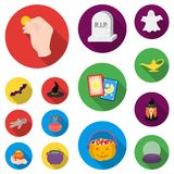 Flat and white magic flat icons in set collection for design. Attributes and sorceress accessories vector symbol stock. Illustration Royalty Free Stock Photo