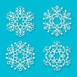 Flat white snowflakes set Stock Image