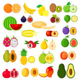 Flat whole and halves of fruits Royalty Free Stock Photos