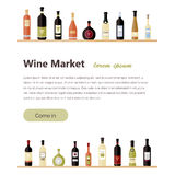 flat wine bottles. Different kinds of wine bottles. Design elements for banners, wine markets, alcohol advertising, bars Stock Photography