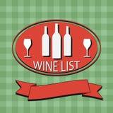 Flat Wine List Menu on striped background fabric Stock Photos