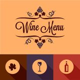 Flat wine menu design elements Stock Image