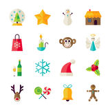 Flat Winter Christmas and Happy New Year Objects. Merry Christmas and Happy New Year Objects Set isolated over White. Flat Design Vector Illustration. Collection vector illustration