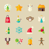 Flat Winter Christmas and Happy New Year Objects Set Royalty Free Stock Photo