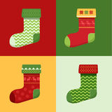 Flat winter Christmas Socks set with pixel deers and christmas trees. Stock Image