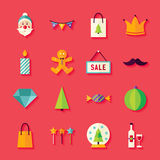 Flat Winter Happy New Year Objects Set with Shadow Stock Photography