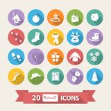Flat Winter icons set with long shadow Royalty Free Stock Image