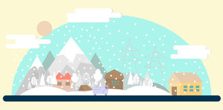 Flat winter landscape Royalty Free Stock Images