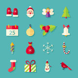 Flat Winter Merry Christmas Objects Set with Shadow Stock Photography