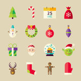 Flat Winter Merry Christmas Objects Set Royalty Free Stock Images