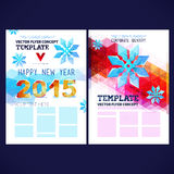 Flat winter vector template design with colored geometric snowflakes Stock Photography