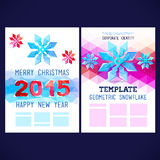 Flat winter vector template design. With colored geometric snowflakes and geometric figures 2015, winter theme,happy new year and Merry Christmas!,brochure,web Stock Illustration