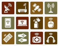 Flat Wireless and communication technology icons. Vector icon set Stock Photos