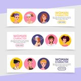 Flat Woman Characters Avatars Horizontal Banners Royalty Free Stock Images