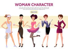 Flat Woman Characters Set Royalty Free Stock Photo