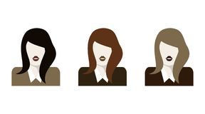 Flat woman icons set. Bubble speech. Vector illustration. Discussion. Different hair color stock illustration
