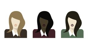 Flat woman icons set. Bubble speech. Vector illustration. Discussion. Different races of people stock illustration