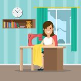 Flat woman seamstress sewer sewing clothes . Flat Young woman sewing clothes  DIY illustration. Handmade and do it yourself clothing concept. Female girl Royalty Free Stock Photography