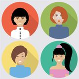 Flat women icons. Set of flat women icons. Four different images of women. Can be used for the websites,forums and blogs Royalty Free Stock Image
