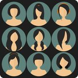 Flat women's glamor hairstyles blue icon set Royalty Free Stock Photo