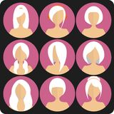 Flat women's glamor hairstyles pink icon set. Flat women's glamor hairstyles pink. Icon set Stock Photography