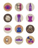 Flat women Yoga essential accessories icons set. Yoga pant and top, bag, strap, blocks, and weights Royalty Free Stock Image