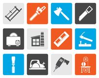 Flat Woodworking industry and Woodworking tools icons. Vector icon set Stock Photos