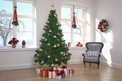 Flat - woonkamer - Kerstmis Royalty-vrije Stock Foto's