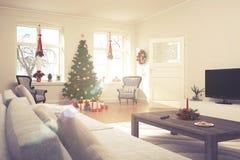 Flat - woonkamer - retro Kerstmis - kijk Stock Foto's