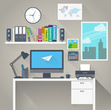 Flat work space with long shadow Royalty Free Stock Image
