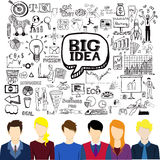Flat working people avatars with business doodles.Brainstorming,big idea,creativity,teamwork concept Stock Photo