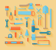 Flat working tools icon set. Stock Photography