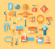 Flat working tools icon set. Royalty Free Stock Images