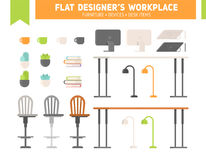 Flat workplace furniture set Royalty Free Stock Images