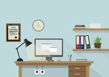 Flat workplace illustration with monitor, lamp, shelves. With books and plant and clock on wall vector illustration