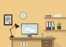 Flat  workplace illustration with monitor, lamp, shelves w. Ith books and plant and clock on wall Stock Photo