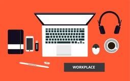Flat workplace vector illustration. royalty free illustration