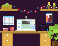 Flat workplace Web banner. Flat video blogger illustration workspace, concepts for business, management, strategy, digital marketi. Flat workplace Web banner Stock Photos