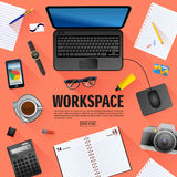 Flat workspace banner for creative project Stock Photo
