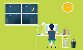 Flat workspace , home office. People  On Location  House Concepts Royalty Free Stock Images