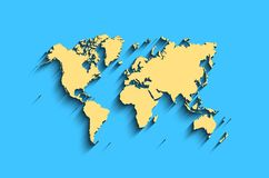 Flat world map. abstract  background for wallpaper, banner. Design concept. clearly template. minimalistic map with shadow in yellow, blue colors Royalty Free Stock Images