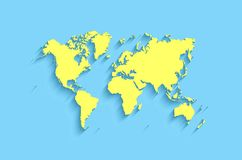 Flat world map. abstract  background for wallpaper. Banner. design concept. clearly template. minimalistic map with shadow in blue, yellow colors Stock Photography