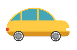 Flat  yellow car. Flat  yellow hatchback car. Vector illustration Royalty Free Stock Photo