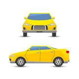 Flat yellow car vehicle type design style vector generic classic business illustration isolated. Royalty Free Stock Image